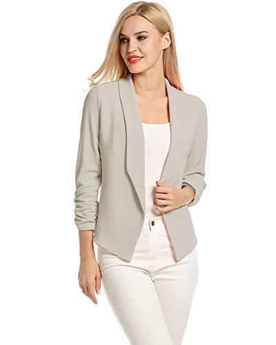 LaLaLa Blazer Damen Business Büro Anzugjacke Kurzblazer Mantel Jacke (Hellgrau,XXL)