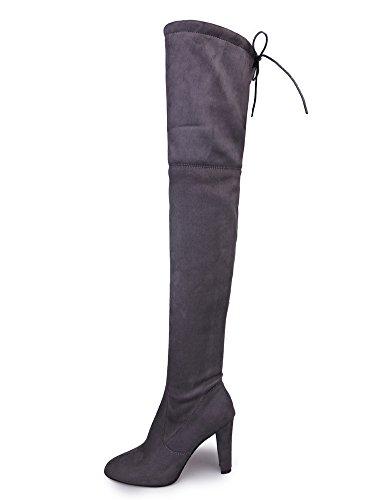 Minetom Basic Damen Overknees Schleifen Stiefel Velours SAMT Schuhe Flach Langschaftstiefel Overknee Boots Blockabsatz Grau EU 37