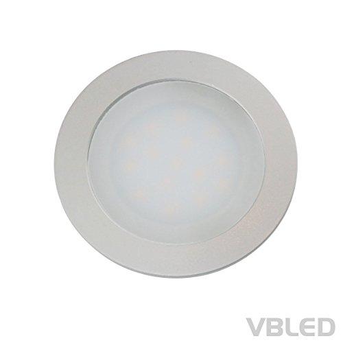 Pvc-decken-fliesen (VBLED® dimmbare LED Einbauleuchte extra flach (12 mm Einbautiefe) Aluminium eloxiert matt warm-weiß 0,9W Dimmbar 12V IP67 für Wand, Boden und Decke (rund))