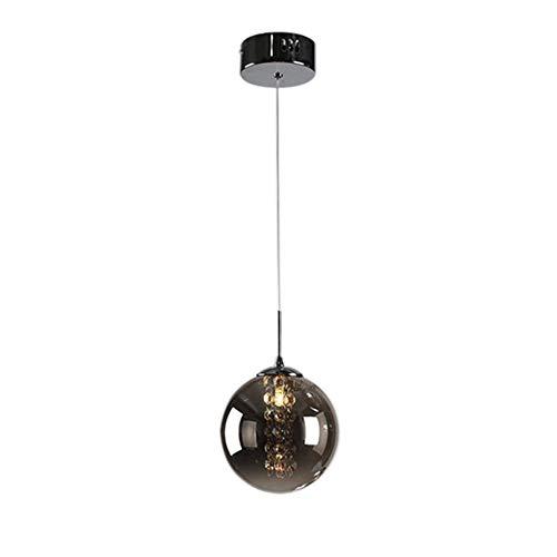 Hängeleuchte Pendelleuchte LED Moderne Kristall Kronleuchter Kugel Glas Lampenschirm Hängelampe Romantische Deckenleuchte Pendellampe Hängelampe für Kücheninsel Flur G14 Glühbirnen 1 Licht, Dunkelgrau - Glas 1 Licht Kronleuchter