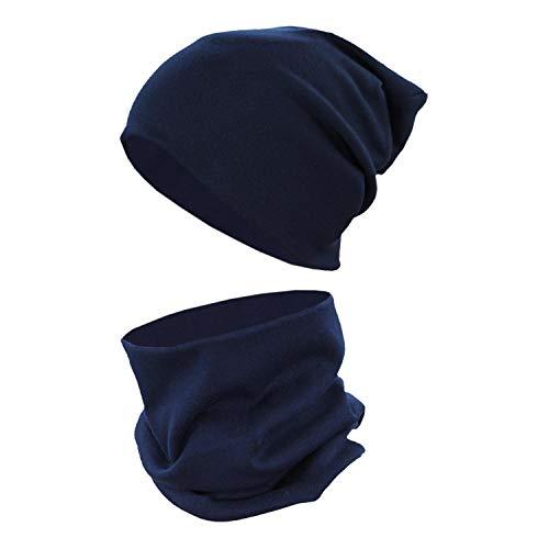 TupTam Unisex Kinder Beanie Mütze Schlauchschal Set Uni, Farbe: Dunkelblau, Größe: 56-62 cm