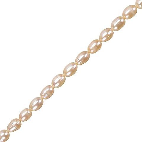Perle d' acqua dolce vera perline di riso rosa 6–7mm 15.5