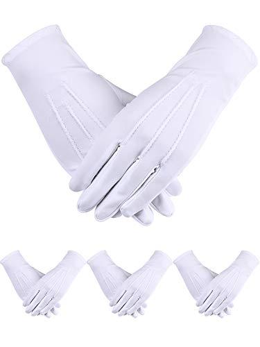 Sumind 4 Paar Erwachsenen-Uniform-Handschuhe Spandex Handschuhe Kleid Handschuhe für Polizei formelle Smoking Guard Parade Kostüm - Weiß - (Lycra Gewebe Für Tanz Kostüm)