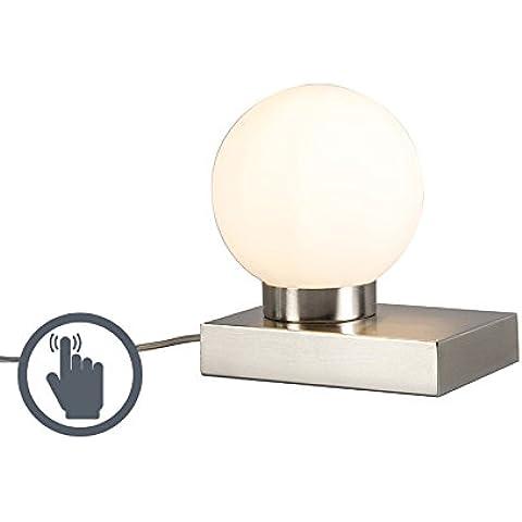 QAZQA Moderno Lámpara de mesa STOL acero redondo táctil Vidrio,Metal Esfera,Rectangular / E14 Max. 1 x 40 Watt