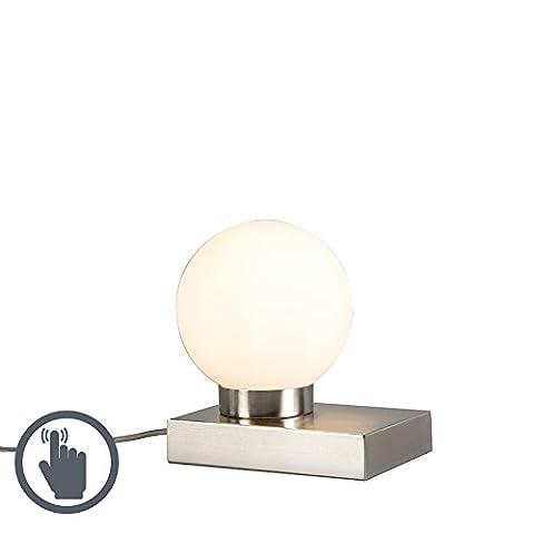 QAZQA Moderne Tischleuchte Stol Stahl rund Touch Glas, Metal Globe, rechteckig/E14max. 1x 40Watt