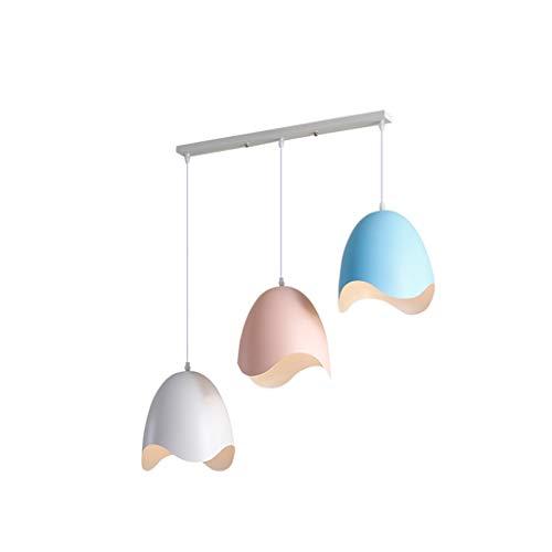 YJWOZ Kronleuchter Schmiedeeisen Farbe Lampenschirm Deckenplatte Bar Kronleuchter Metall Material Weißes Pulver Korb Leuchter -