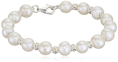 Elements Silver B3701W Ladies' Pearl Sterling Silver Bracelet with Textured