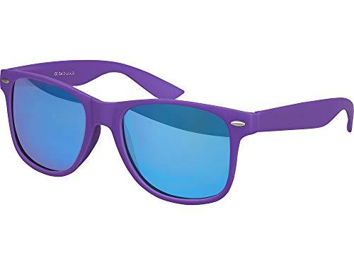 Balinco Hochwertige Nerd Sonnenbrille Rubber im Wayfarer Stil Retro Vintage Unisex Brille mit Federscharnier - 96 verschiedene Farben/Modelle wählbar (Lila - Blau verspiegelt)