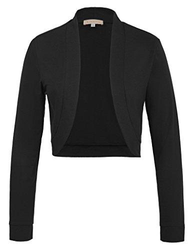 Damen stilvolle 50er Jahre Langarm Solid Color Abendkleid Mantel Achselzucken Schwarz 823 S (Knit Cardigan Crochet)