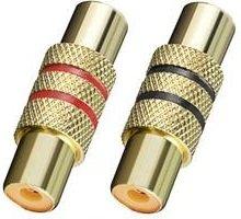 BestPlug 2 Stück RCA Audio Video Adapter Verbindungsstück / Cinch Kupplung Buchse weiblich auf Cinch Kupplung Buchse weiblich / vergoldet Metallausführung Rca Female Audio Adapter