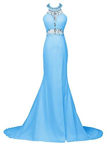 Dresstells, Robe de soirée Robe de cérémonie forme sirène emperlée dos nu traîne mi-longue Bleu