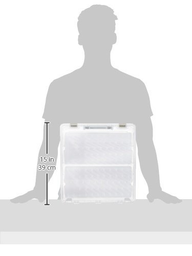 ArtBin Super Satchel Box with Two Removable Thread Trays- Clear/White Sewing Storage Container, 9002AB