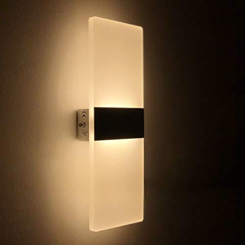 Wandleuchte LED Innen 12W Wandlampe Acryl Wandbeleuchtung Modern für Wohnzimmer Schlafzimmer Treppenhaus Flur | Warmweiß -