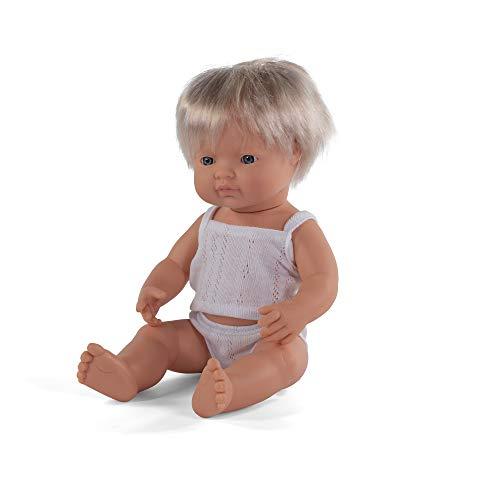 Miniland - Muñeco bebé Europeo Niño de vinilo suave de 38cm con rasgos étnicos y sexuado para el aprendizaje de la diversidad con suave y agradable perfume. Presentado en caja de regalo.