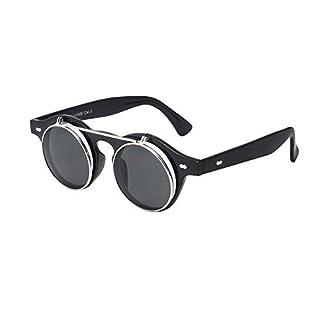 Sunglasses Men's Ladies Flip Up Lens U400 Protection Vintage Classic Steampunk Look (A1 Black)