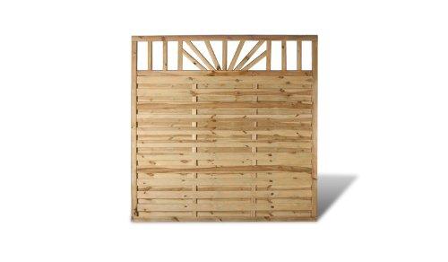Günstiger Terrassen Sichtschutz Lamellenzaun im Maß 180 x 180 cm (Breite x Höhe) aus Kiefer/Fichte Holz, druckimprägniert