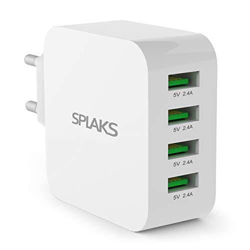 Splaks USB Ladegerät 4-Port 40W 5V/8A Wall Charger Netzteil Schnell Aufladen für iPhone 5s/6/7/8/Plus/X/Xs/Xs Max/XR, iPad, Galaxy S7/Edge/8/9/Plus Bluetooth/Tragbare Geräte usw. -Weiß Mini-usb-pda-smartphone