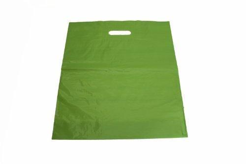 100 Stück Tragetaschen Plastiktüten limone 40 x 45 + 2 x 5 cm Einkaufstüten Beutel Shopper Grifflochverstärkung reißfest 50 mµ