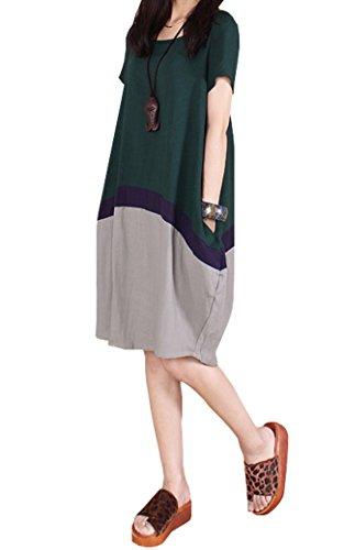 BININBOX® Damen Leinen Sommerkleid Kurzarm Rundhals Leinenkleid Seitentaschen Shirtkleid bequeme Sommerkleid (3 Farben) Dunkelgrün