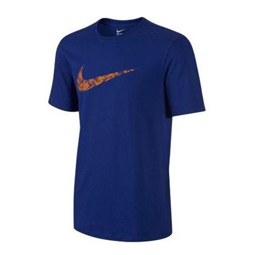 Nike Herren Palm Print Swoosh T-Shirt Tiefes Königsblau/Vivid Orange