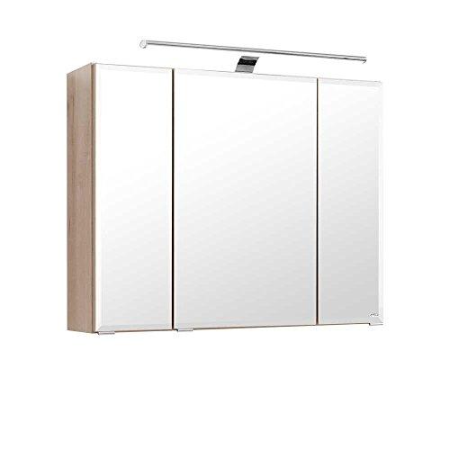 Pharao24 3D Spiegelschrank in Buche hell 80 cm breit -