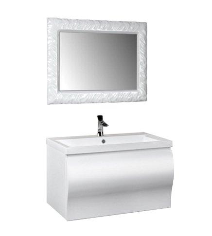Arredobagnoecucine Meuble Salle de Bain Suspendu Moderne Fiji laqué Blanc Brillant, Mesure cm 90,5