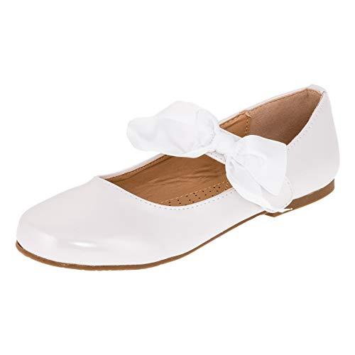Doremi Edle Festliche Kinder Mädchen Prinzessinnen Party Schuhe Ballerinas mit Schnalle und Schleife M513ws Weiß 33 EU