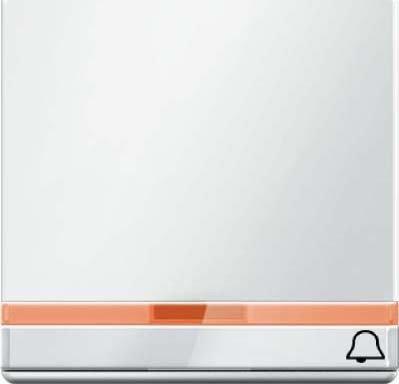 Hager Q.1Türklingel Taste mit Objektiv + Rotulo + Gravur weiß Polar - Beleuchtung-kreuz-jalousie-objektiv