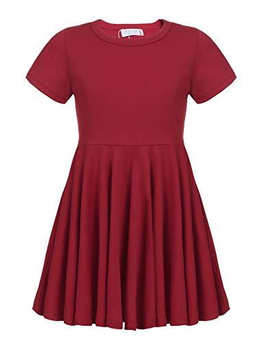 Kleid Mädchen Sommer A-Linie Kurzarm Baumwolle T-Shirt Kleider Freizeitkleidung, Rot, 130 (Sommer Mädchen Kleider)