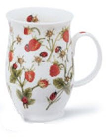 1 x Jane Fern Strawberries and ladybirds design from Dovedale range - Dunoon Suffolk Fine Bone China mug -