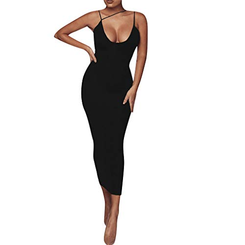 UINGKID Sommerkleid Damen, Sexy Deep V-Ausschnitt Ärmelloses Spaghetti-Armband Wrap Kleid