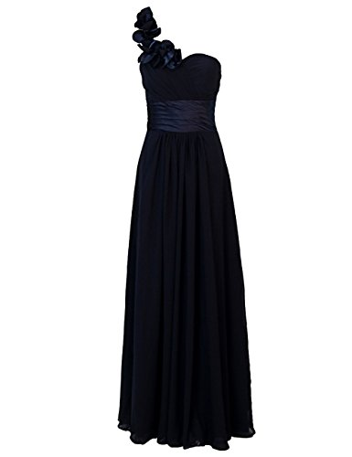Dresstells, Une épaule robe de soirée, tenue de mariage, robe de cérémonie, robe de demoiselle d'honneur Marine