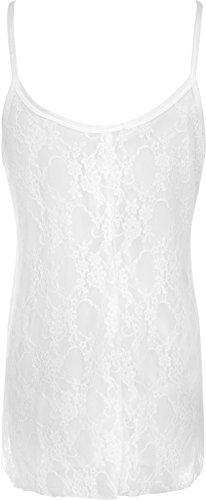 WearAll - Femmes Grand Taille Sheer mousseline dentelle doublé bretelles sans manches Balançoire Vest - Hauts - Femmes - Tailles 40-58 Blanc