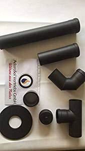 AdoroSol Vertriebs GmbH Rauchrohr Set Pellet in Schwarz, Ø 100 mm, Ofenrohr für Pelletöfen, Pelletrohrset