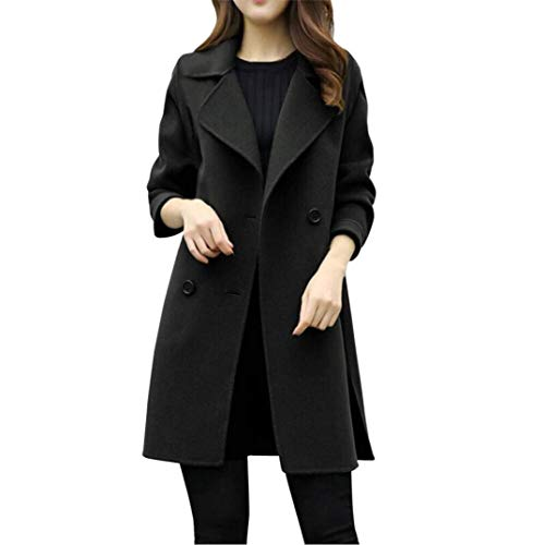 Mäntel Damen Herbst Winter Coat Langarm Unikat Style Revers Zweireiher Casual Parka Unifarben Mantel Young Fashion Lang Outerwear Trenchcoat (Color : Schwarz, Size : 2XL)