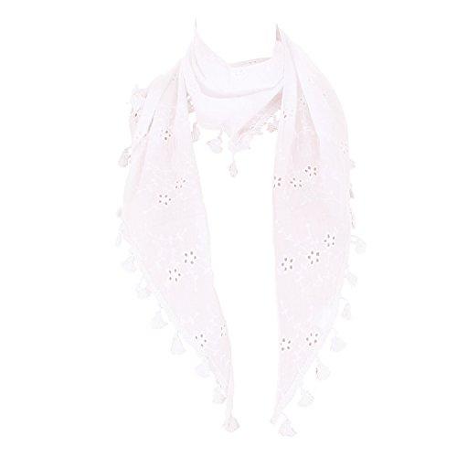 FTSD - FindTheSecretDreams Damen Dreieckstuch Schal mit Fransen und Blumenmuster viele Farben (Weiß/One Size)