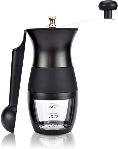 Milu® Manuelle Kaffeemühle Handkaffeemühle mit Keramik Mahlwerk I Stufenlose Mahlgradeinstellung I Espressomühle I - mit Löffel & Bürste