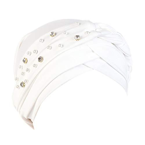 Tie-dye-seide-schal (Kopftücher Damen Muslim WQIANGHZI Kopftuch Muslimische Chemo Paisley,Hijab Bandana Elegant Kopfbedeckung Turban Multipurpose Schönes Kopftuch 10 Farben mit Blumen Dekoration (Weiß))