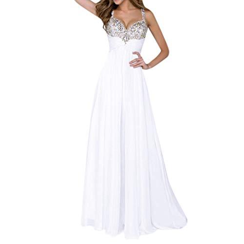 feiXIANG Damen Elegante Partykleid brautkleid Abendkleid v-Ausschnitt ärmelloses schlank Lange Maxi Kleider (B/Weiß, M)