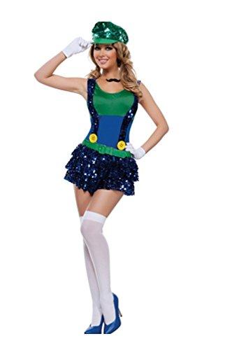 Sexy -Block springen Klempner Kostüm (Medium) (Mario Brothers Toad Kostüm)