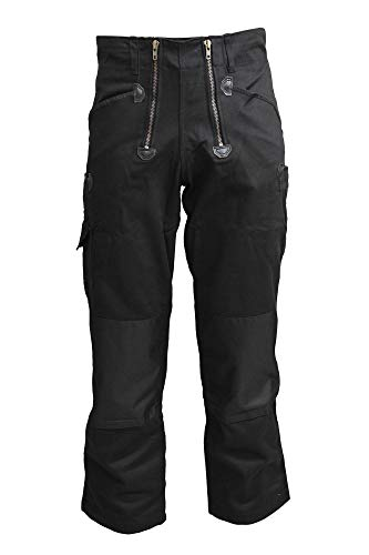 TMG® Herren Zunfthose Schwarz | viele Größen | Männer Dachdeckerhose mit Knieverstärkung aus Cordura | Ohne Schlag | Dachdecker, Zimmerer und Tischler | 500gr 48