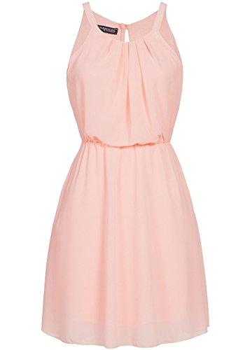 violet Fashion Damen Mini Chiffon Kleid 2-lagig, rosa, Gr:S