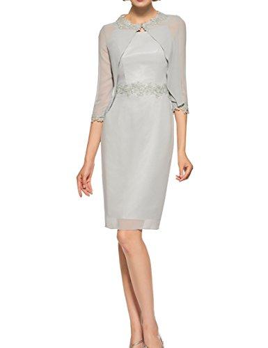 Knielanges Applikationen 2 Stück Mutter der Braut Kleid Silber Spalte Scoop Mutter der Braut Kleid (Halbe Spalte)