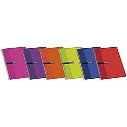 Enri 100430104 - Cuaderno rayado, A5, 80 hojas, Pack 10 Cuadernos, colores aleatorios