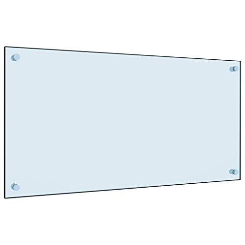 vidaXL Küchenrückwand Spritzschutz Fliesenspiegel Glasplatte Rückwand Herdspritzschutz Wandschutz Herd Küche Weiß 80x40cm Hartglas
