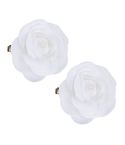 SIX Sommer 2er Set, Haarspangen, Haar Clips mit weißen Textil-Blumen, Rosen-Blüten (24-638)