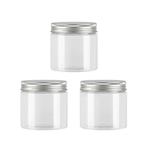 12 Pcs 200g Clear Plastic Storage Containers Empty Cosmetic Jars with Screw Aluminium Cap Lids for Cream Gel Lotion Jewelry Beads Samples Kitchen Storage -