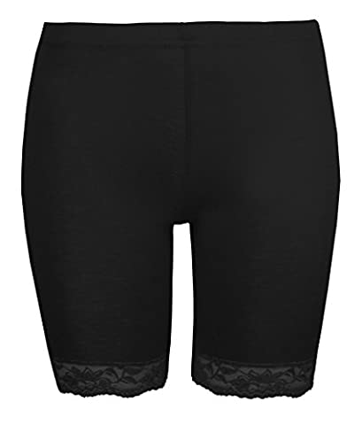 Womens Cycling Shorts Ladies Lace Trim Cycle Shorts Exclusively By Love Lola® Stretch Leggings Black (M/L 12/14)