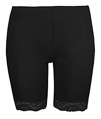 Womens Cycling Shorts Ladies Lace Trim Cycle Shorts Exclusively By Love Lola® Stretch Leggings Black (S/M 8/10)