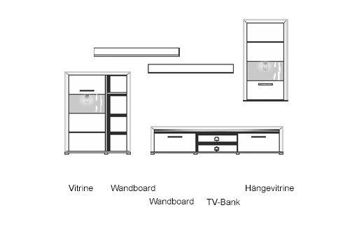 5-tlg. Wohnwand in Hochglanz weiß/Abs. aluminiumfarben, mit LED-Beleuchtung, 1 Vitrine, 2 Wandboards, 1 TV-Bank, 1 Hängevitrine, B/H ca. 322/201 cm - 5